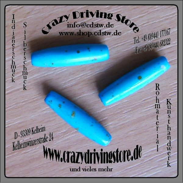 Rohmaterial , Knochenröhre , Hairpipes , Türkis-Optik , mittel